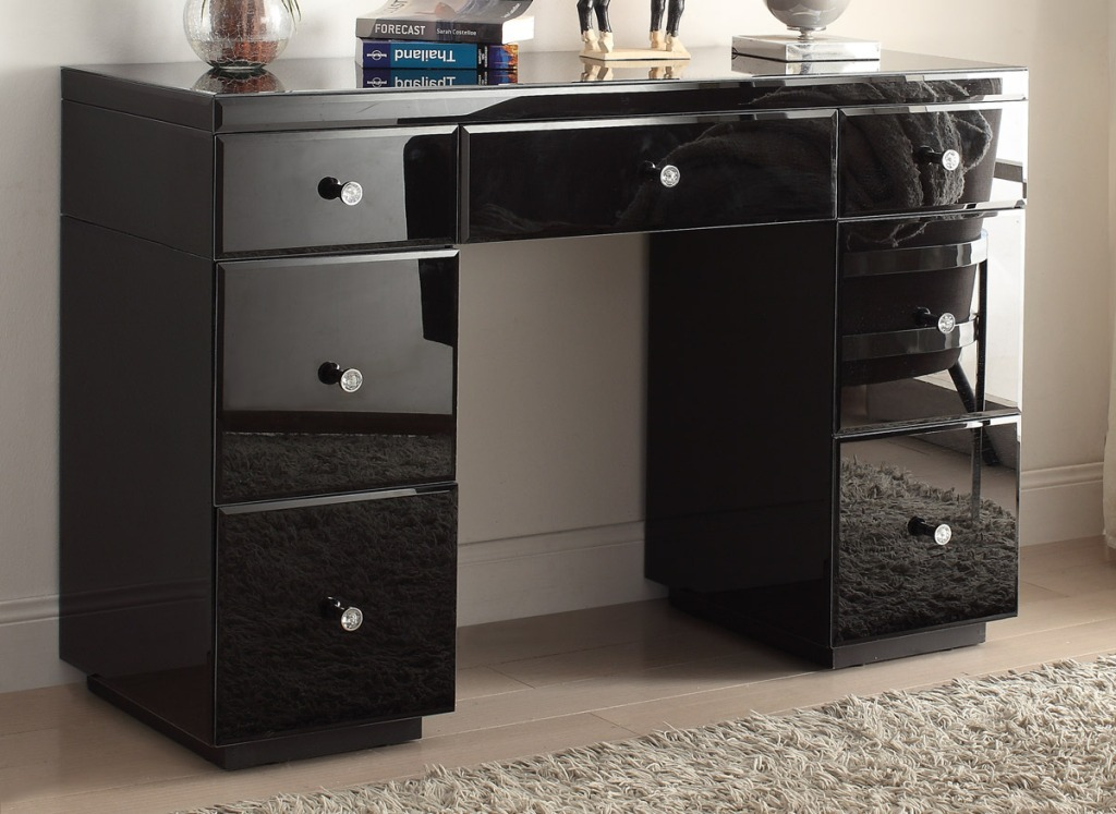 Image of: Black Modern Dresser Mirror And Chair