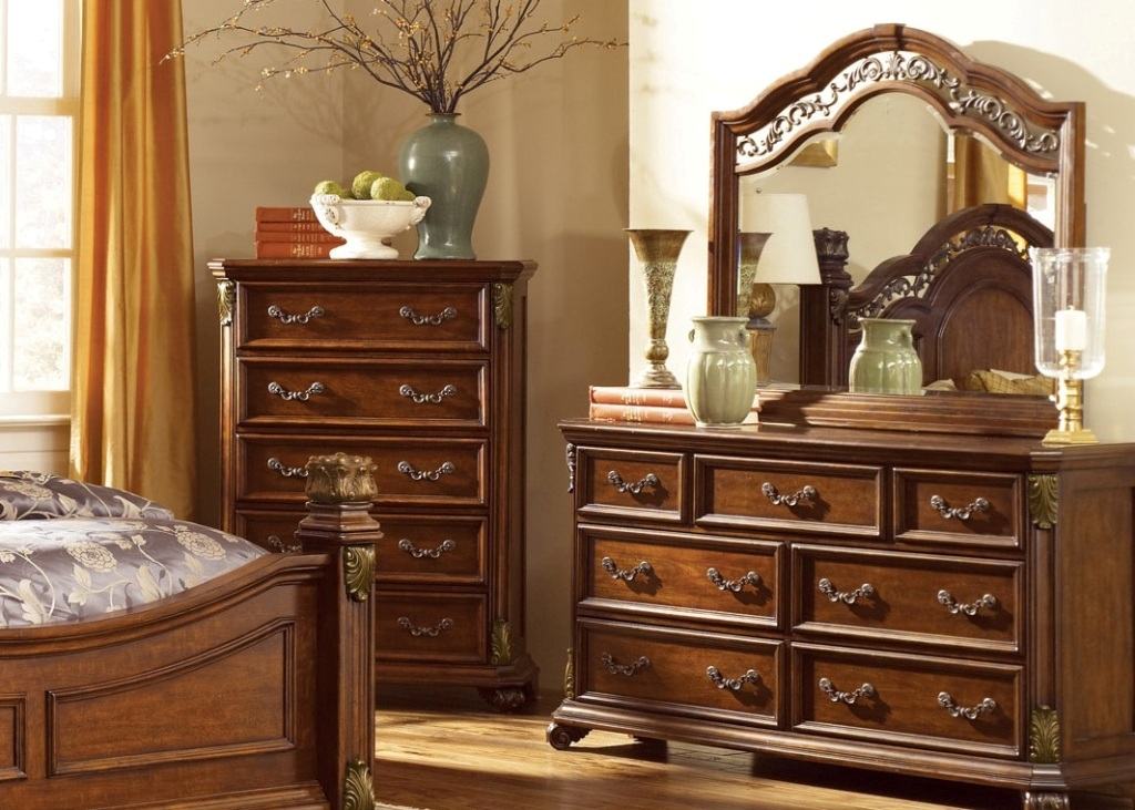 Image of: Dresser Mirror Chest Set