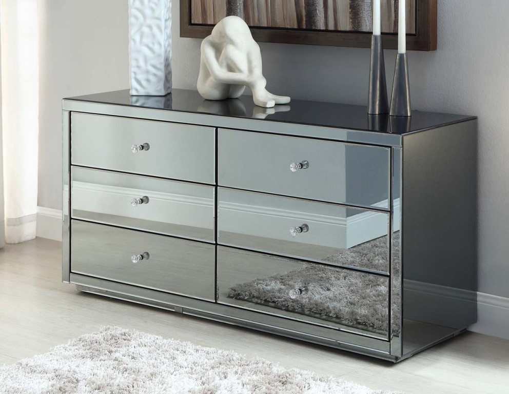 Image of: Mirrored 6 Drawer Chest