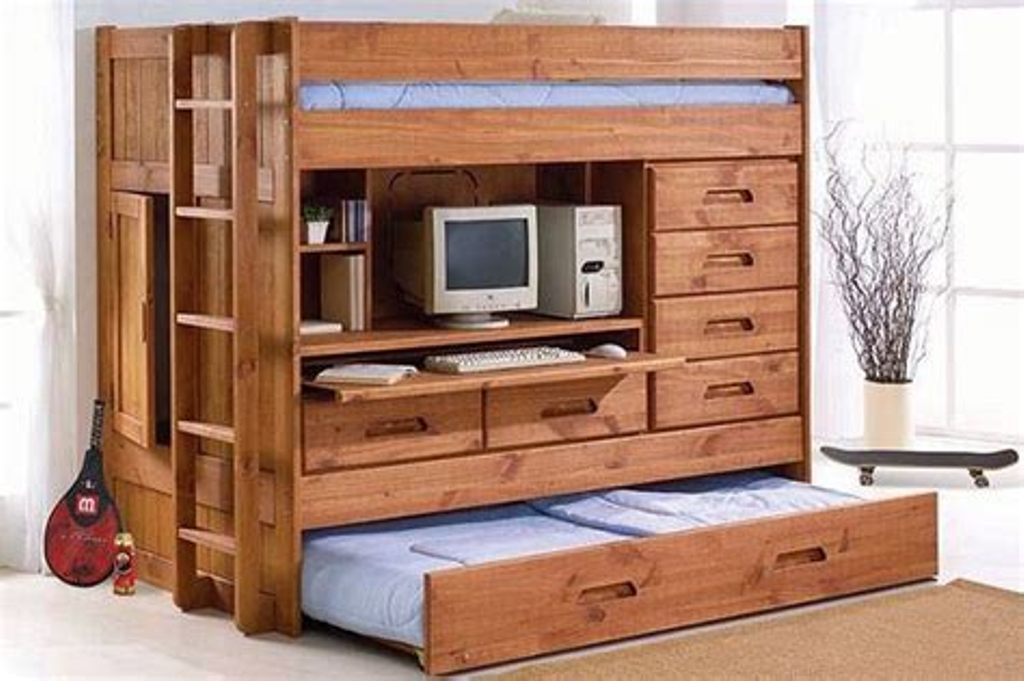 Image of: Small Bunk Beds With Dresser Built In