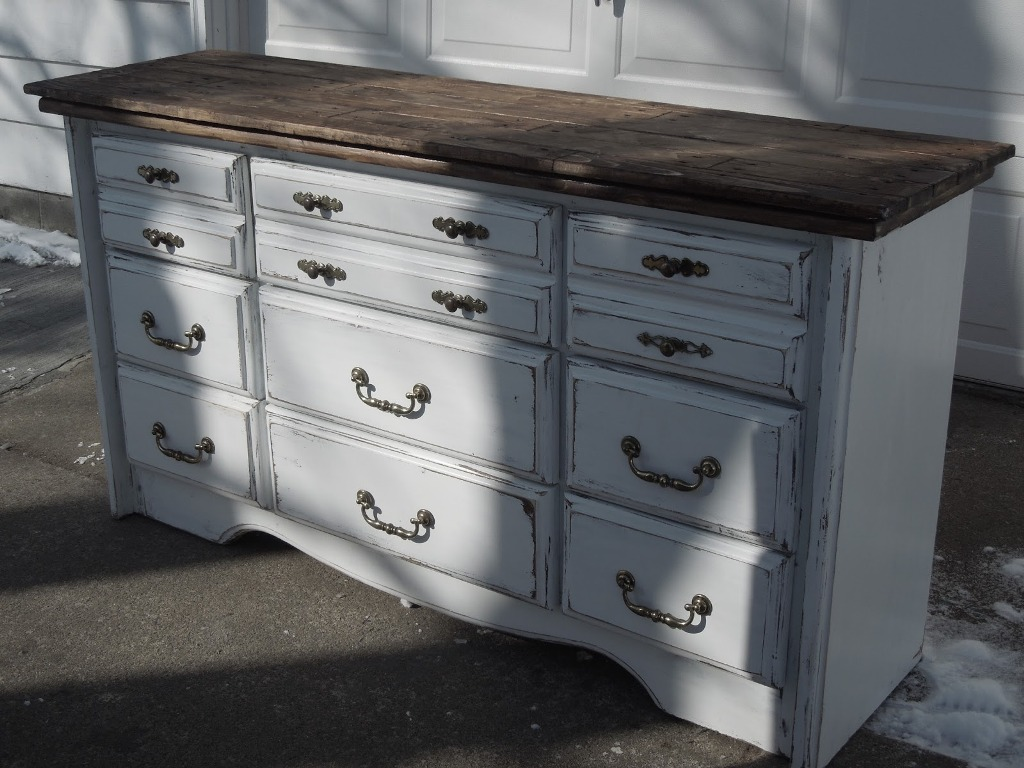 White Distressed Dresser