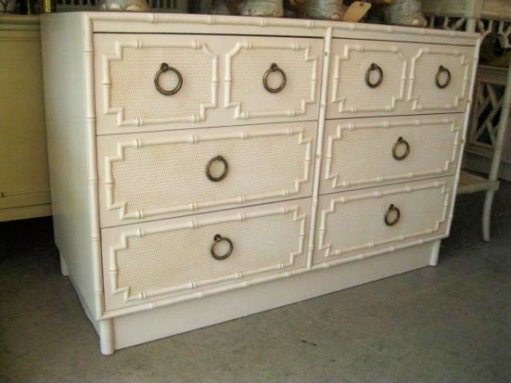 Image of: Modern White Faux Bamboo Dresser