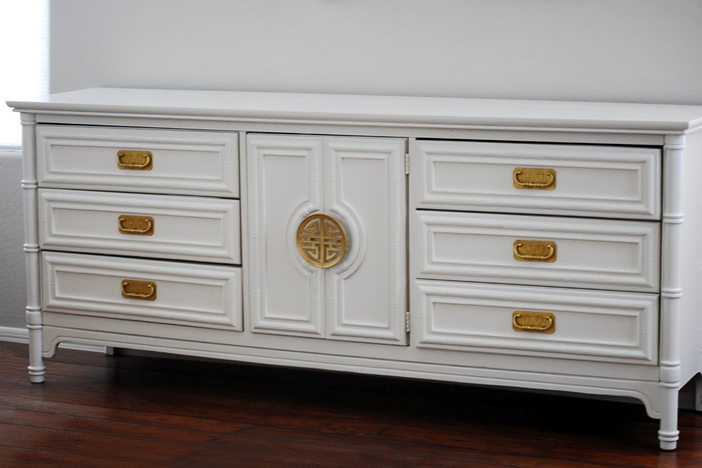 Image of: White Faux Bamboo Dresser