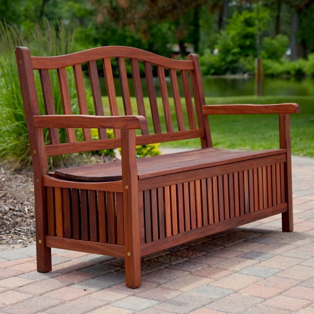 Picture of: Antique Wooden Bench with Storage