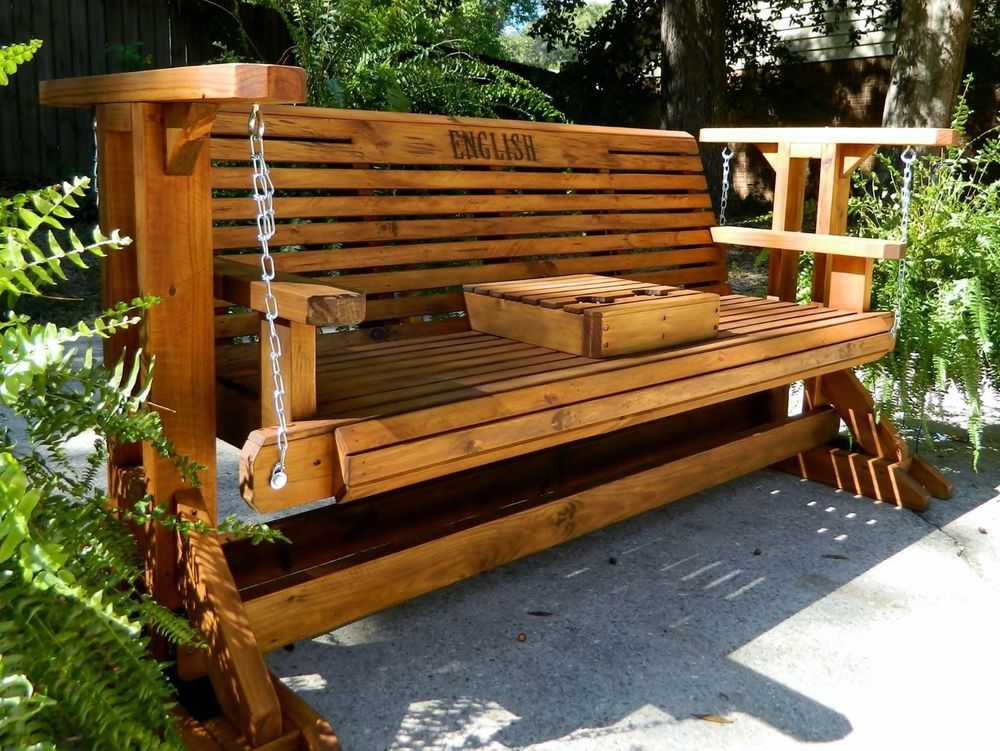 Picture of: Awesome Wooden Glider Bench