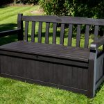 Black Wooden Bench with Storage