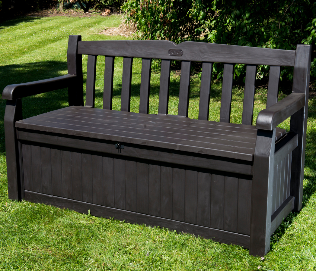Picture of: Black Wooden Bench with Storage