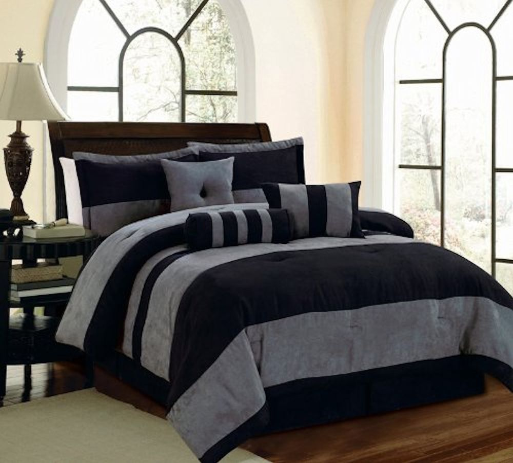Image of: Black and Grey Comforter Sets King