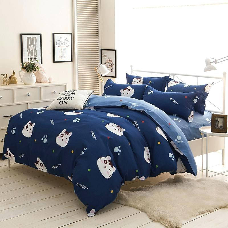 Blue Cat Bedding Set