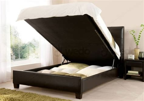 Brown Hydraulic Lift Storage Bed