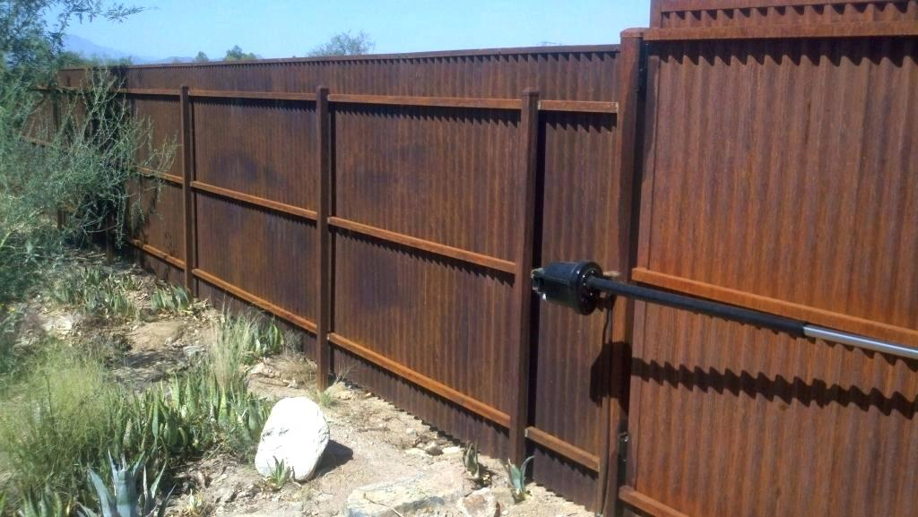 Image of: Build Corrugated Metal Fence