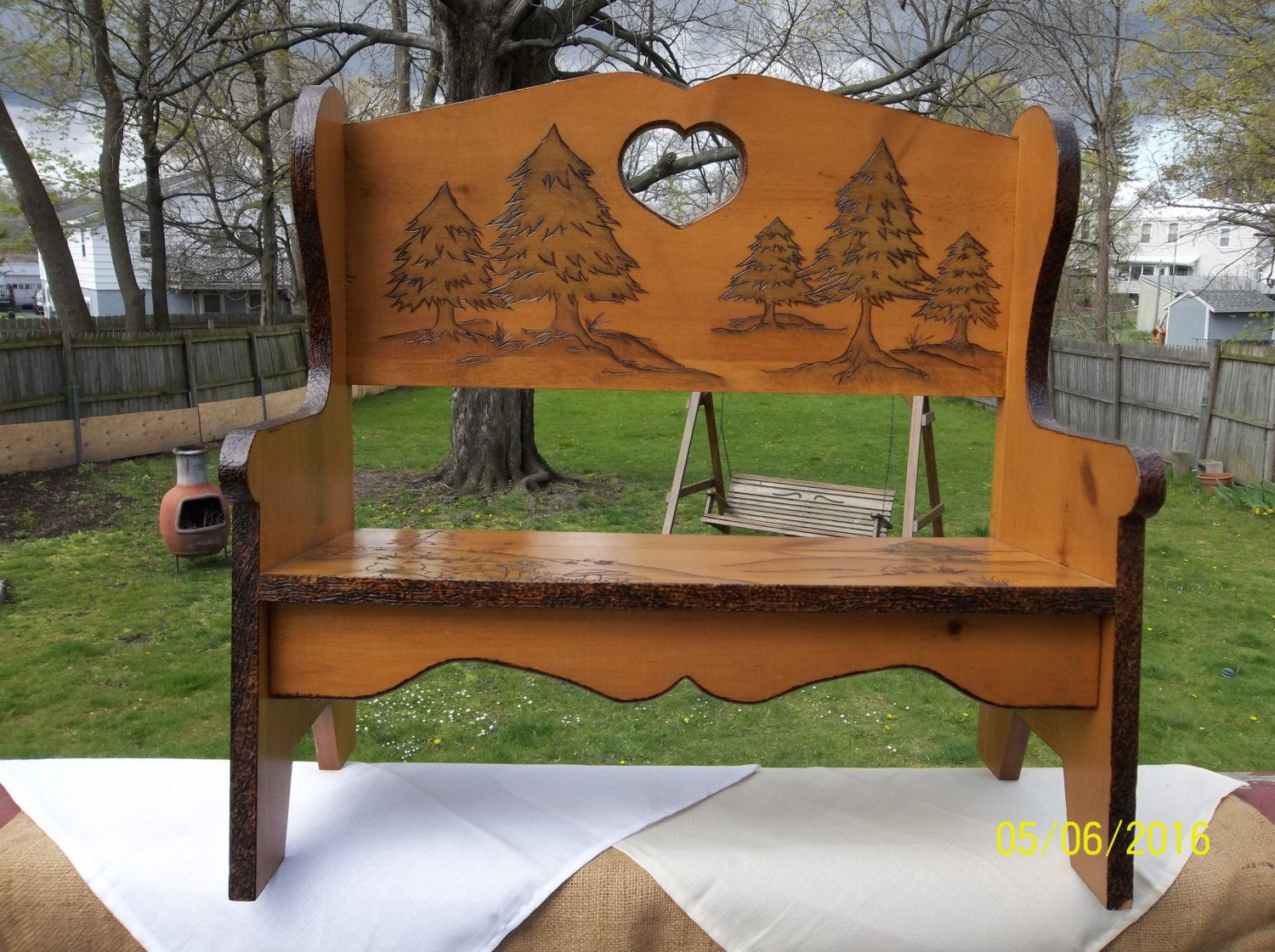 Carve Small Wooden Bench