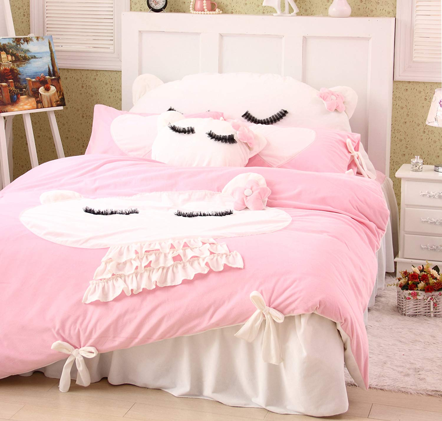 Cat Bedding Set Pink