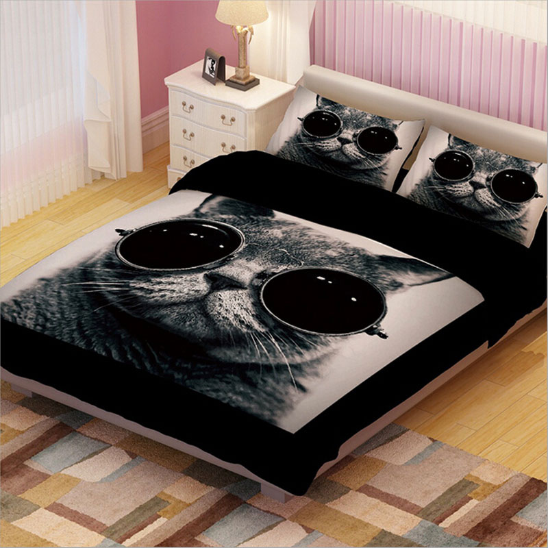 Image of: Cat Duvet Cover Black