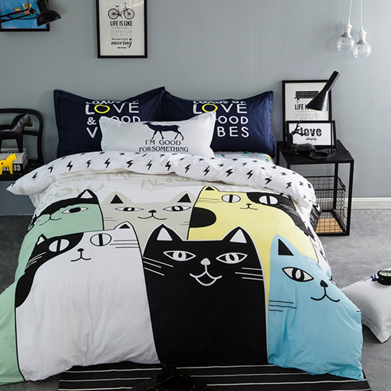 Image of: Cat Duvet Cover Theme