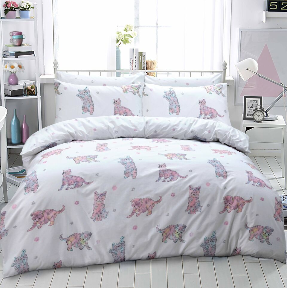 Image of: Cat Duvet Cover White Color