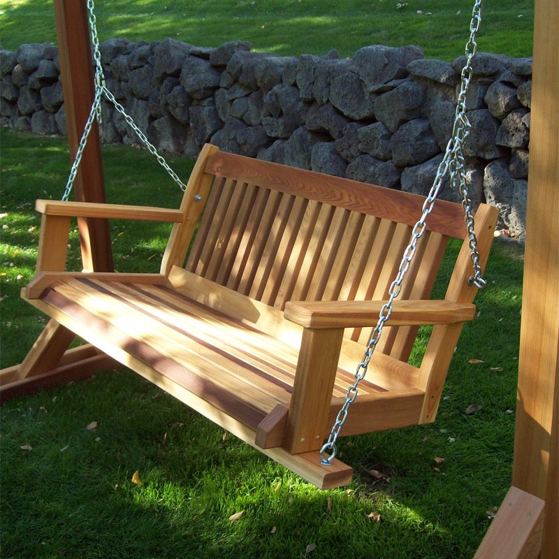 Picture of: Cedar Wooden Swing Bench Designs