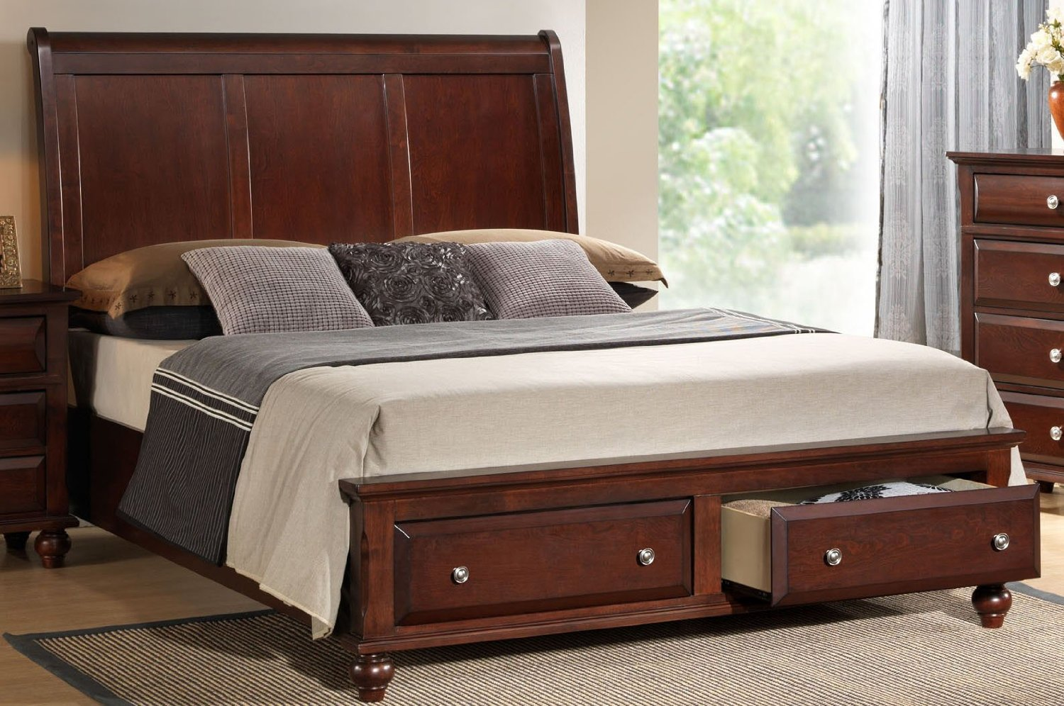 Image of: Cheap Solid Wood Storage Bed