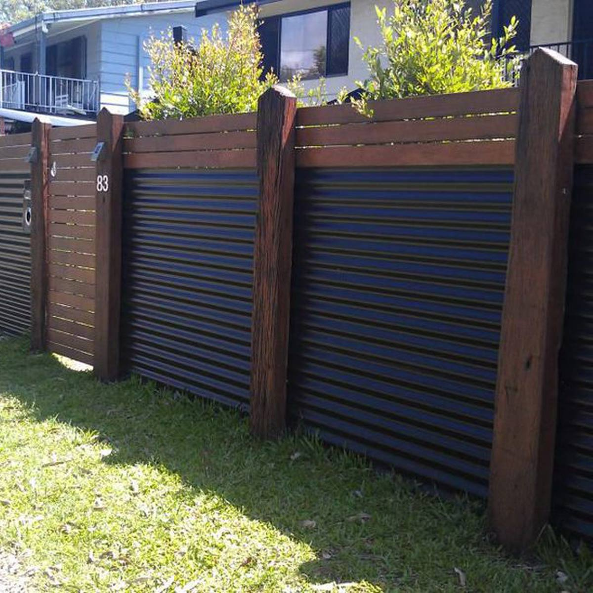 Image of: Corrugated Metal Fence Black
