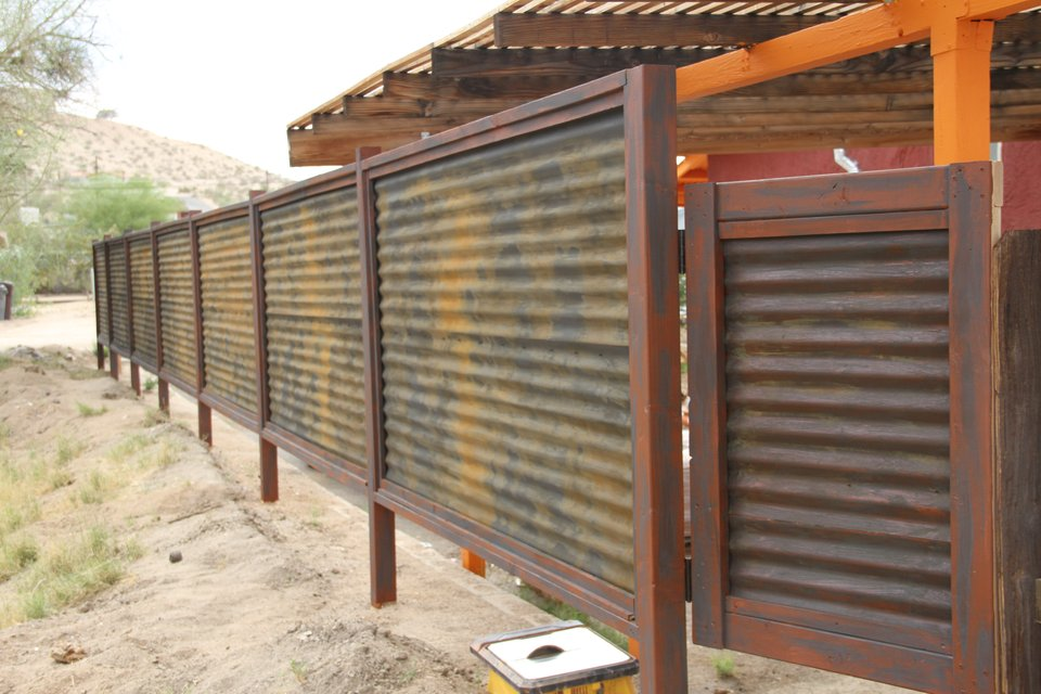 Image of: Corrugated Metal Fence Door