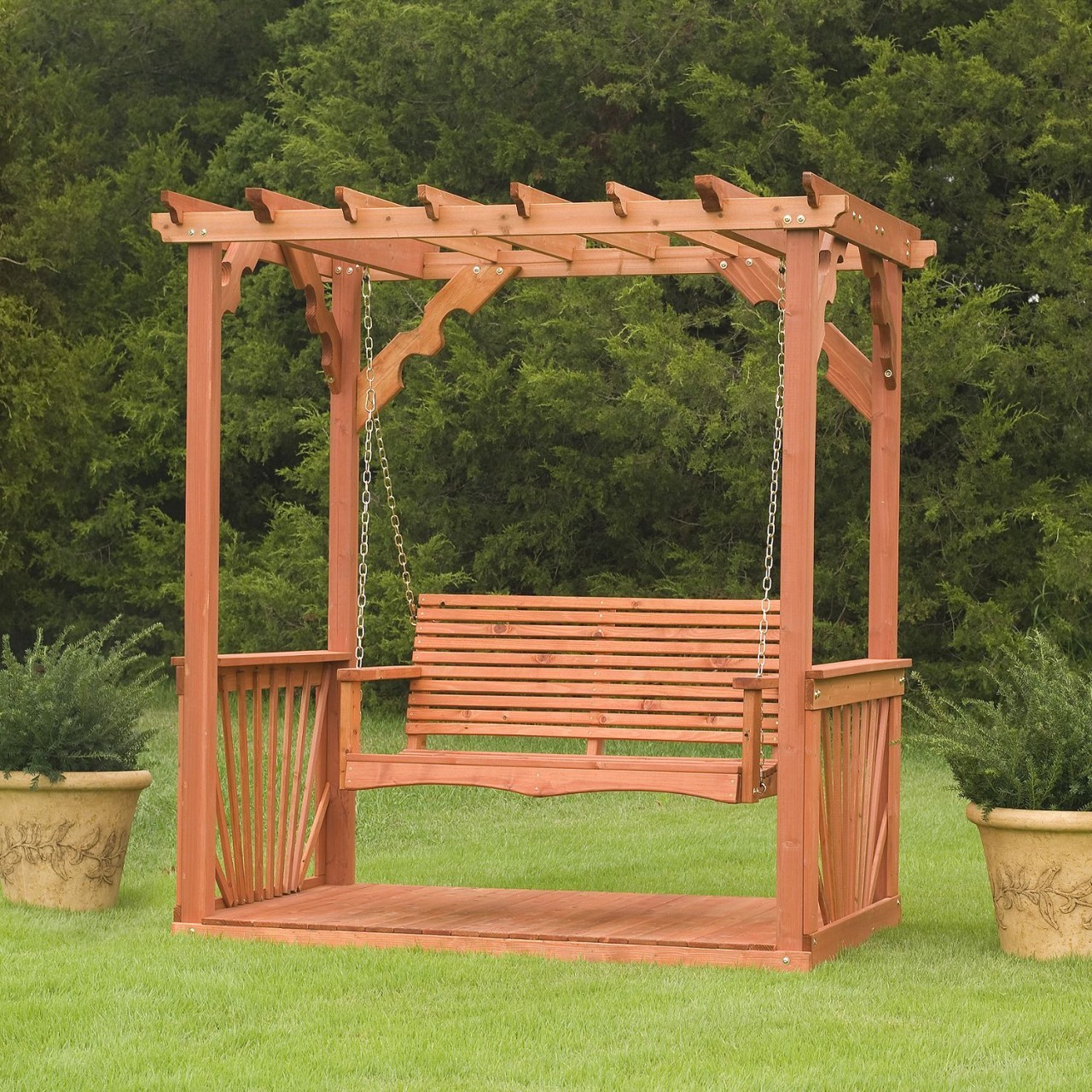 Picture of: Cup Holder Wooden Swing Bench