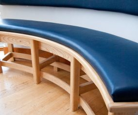 Curved Leather Bench Cushion