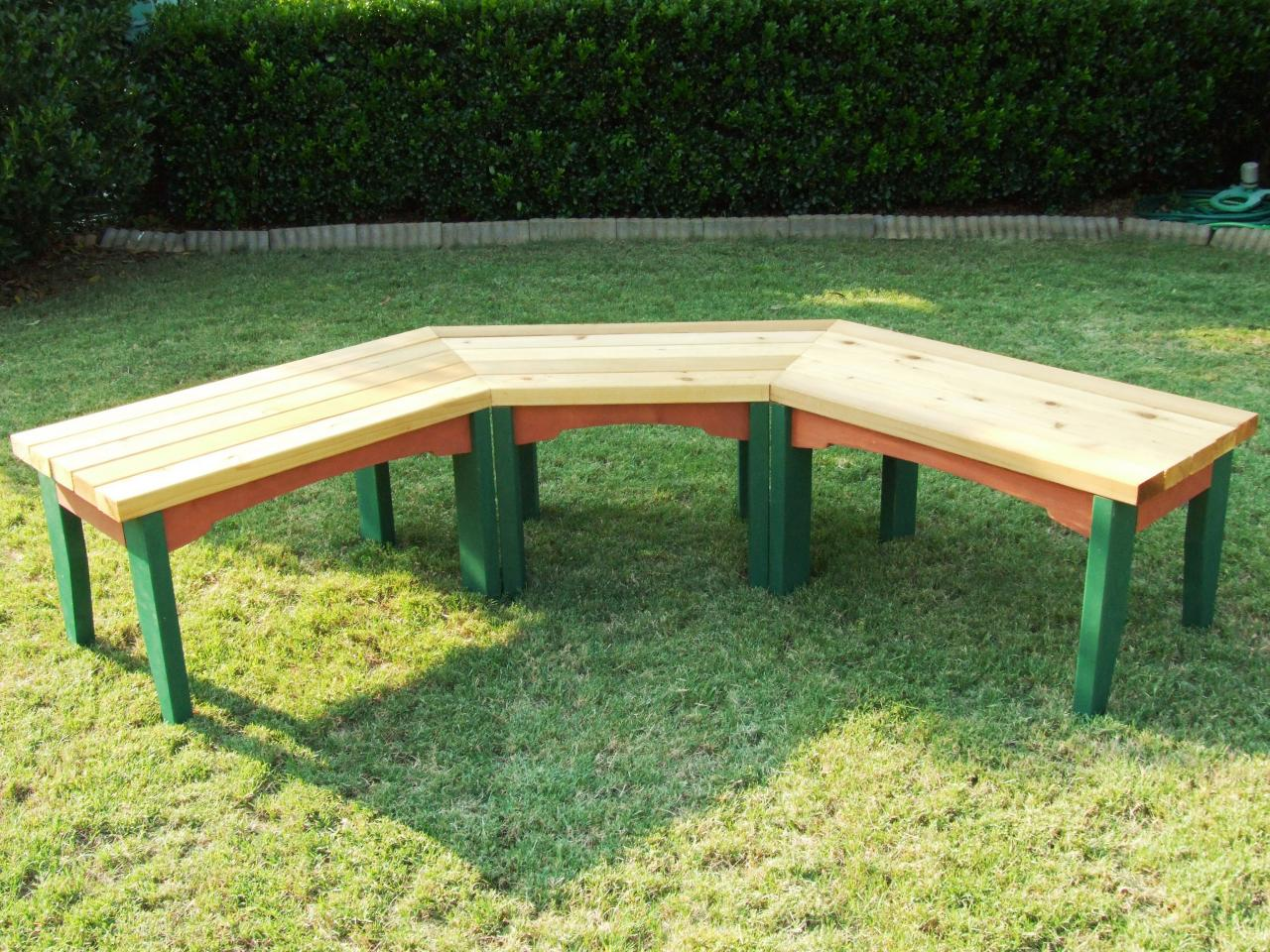 Picture of: Curved Wooden Bench Garden
