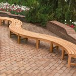 Curved Wooden Bench Long