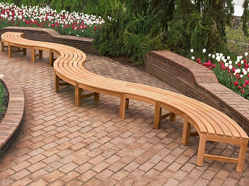 Picture of: Curved Wooden Bench Long