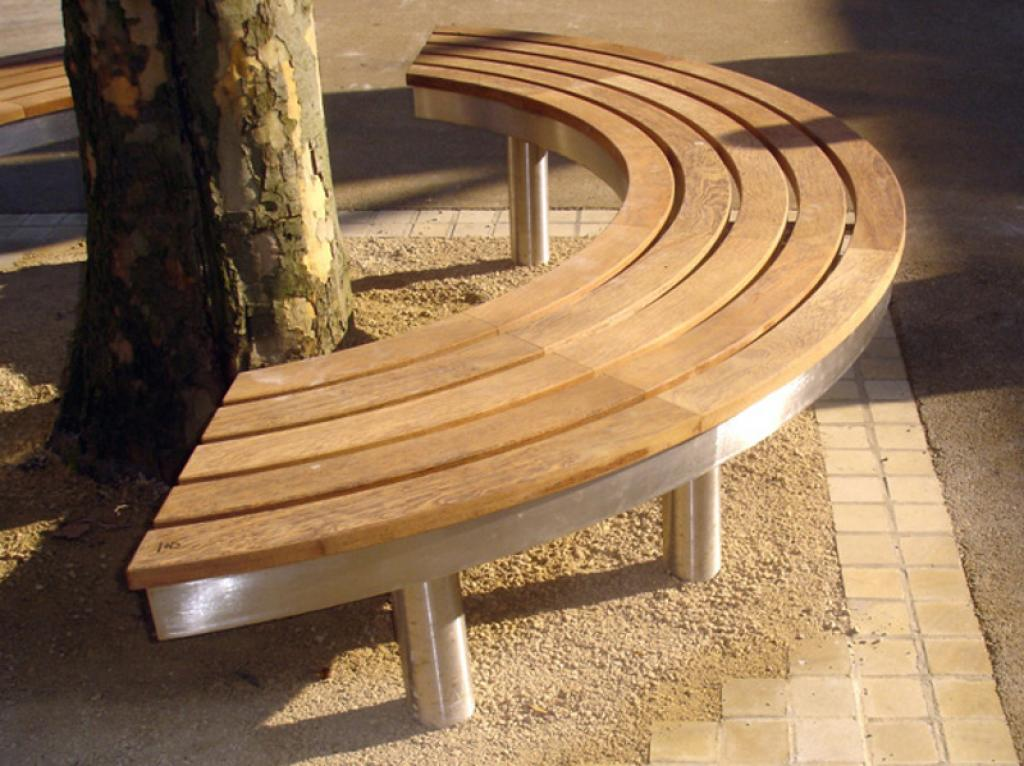 Picture of: Curved Wooden Bench Model