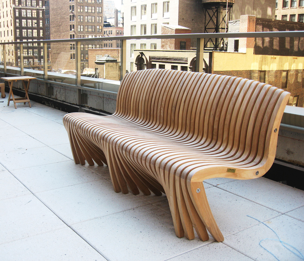 Picture of: Curved Wooden Bench Modern