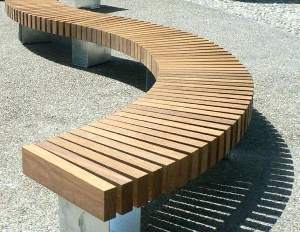 Curved Wooden Bench Seating