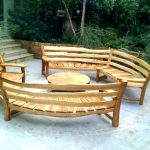 Curved Wooden Bench Sets