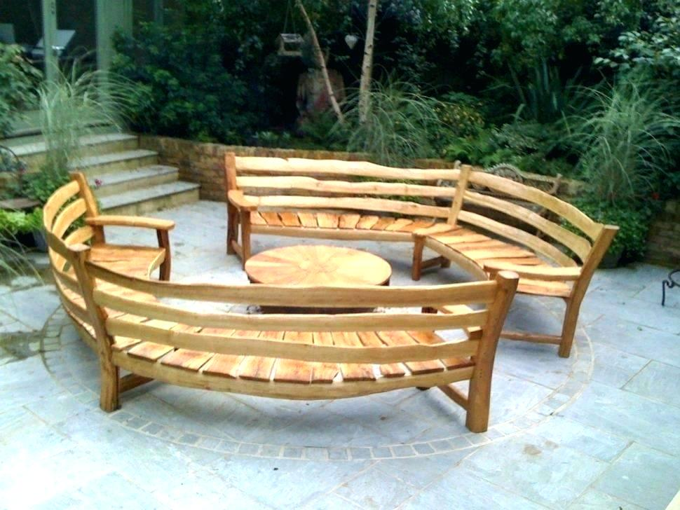 Picture of: Curved Wooden Bench Sets