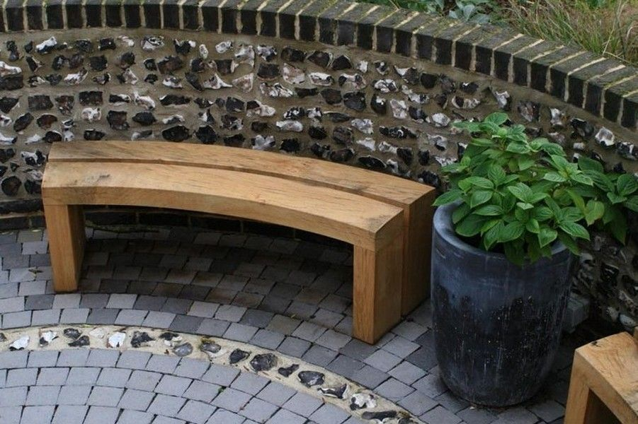 Picture of: Curved Wooden Bench Small