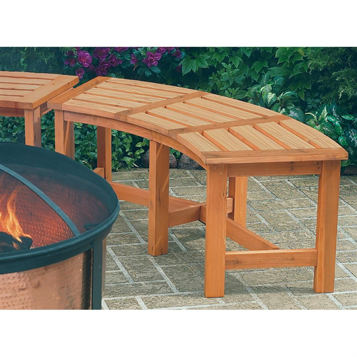 Picture of: Curved Wooden Bench Type