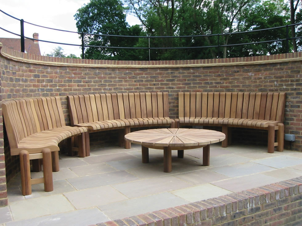 Curved Wooden Bench And Table