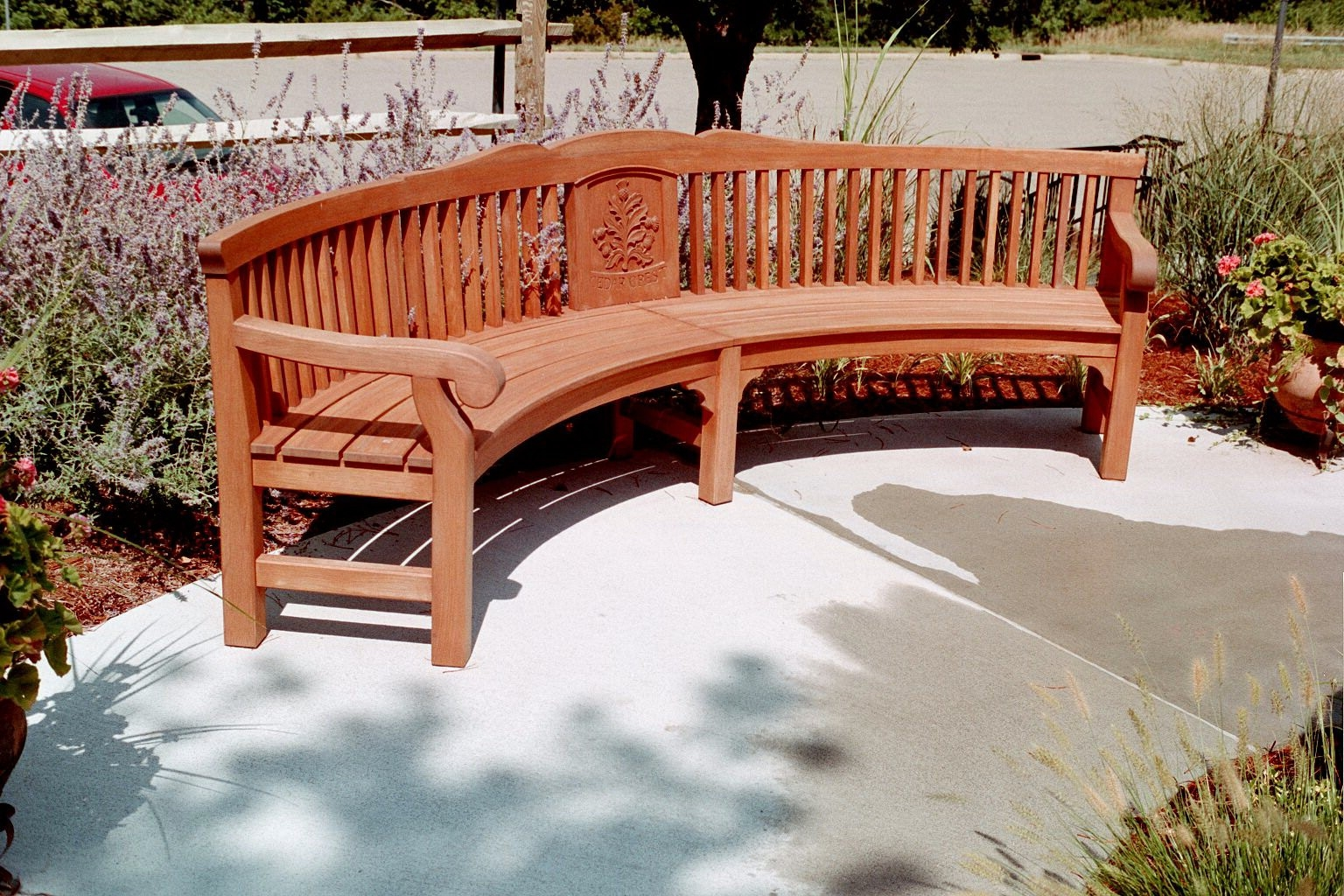 Picture of: Curved Wooden Bench back