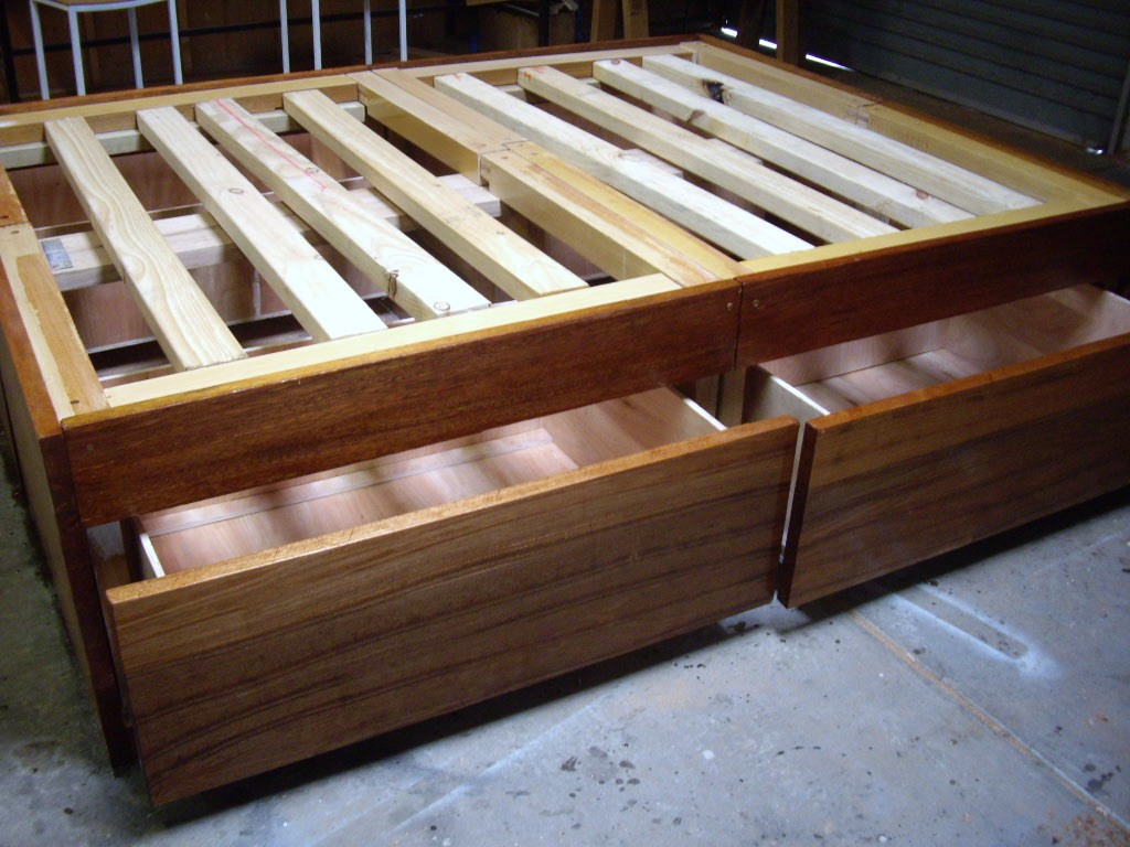 Image of: DIY Bed Frame with Storage Idea