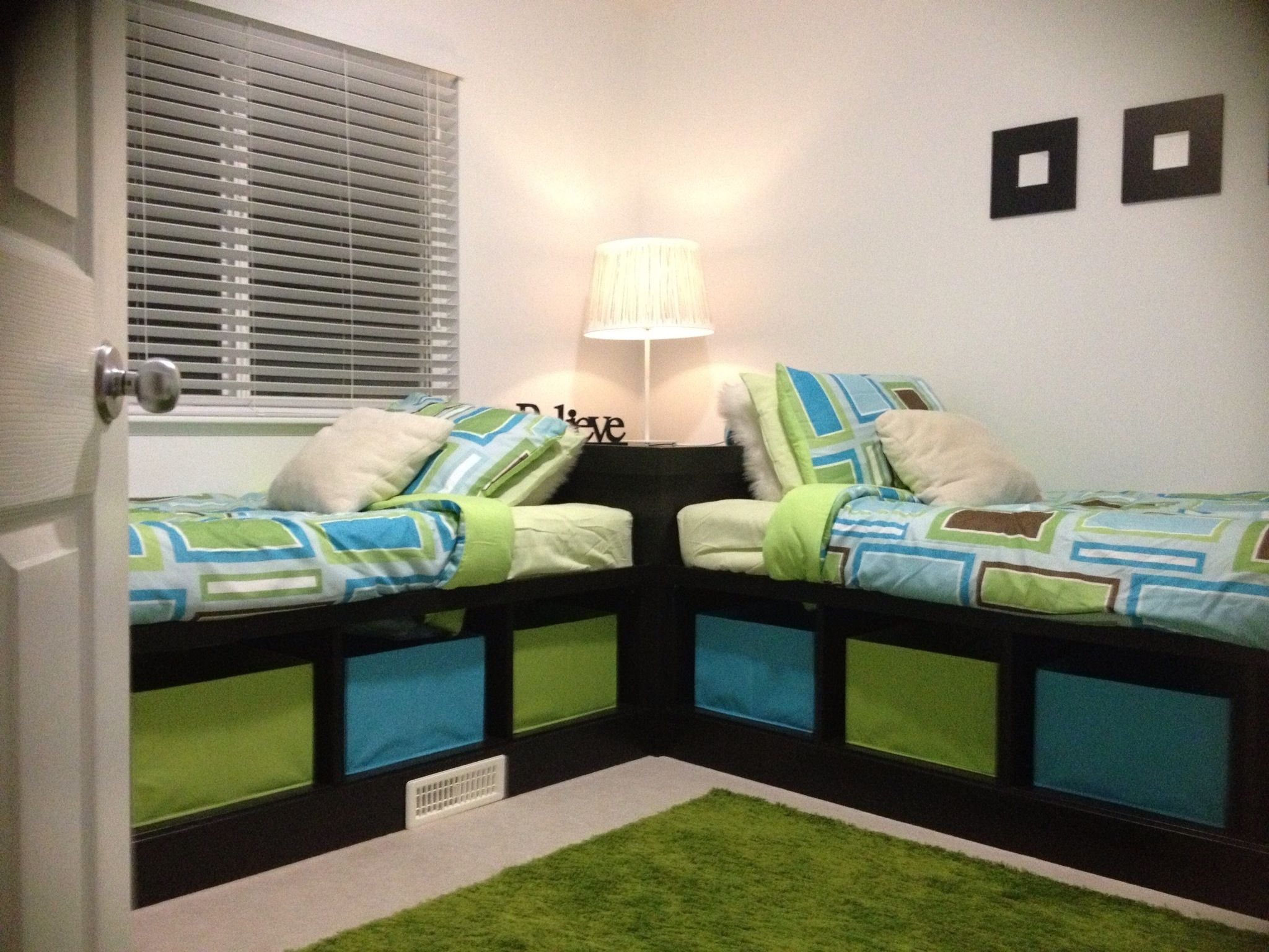 DIY Corner Twin Beds With Storage