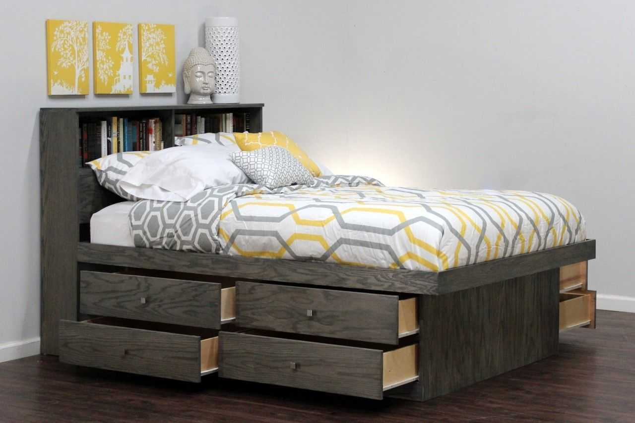 Image of: DIY Platform Bed with Storage Gray
