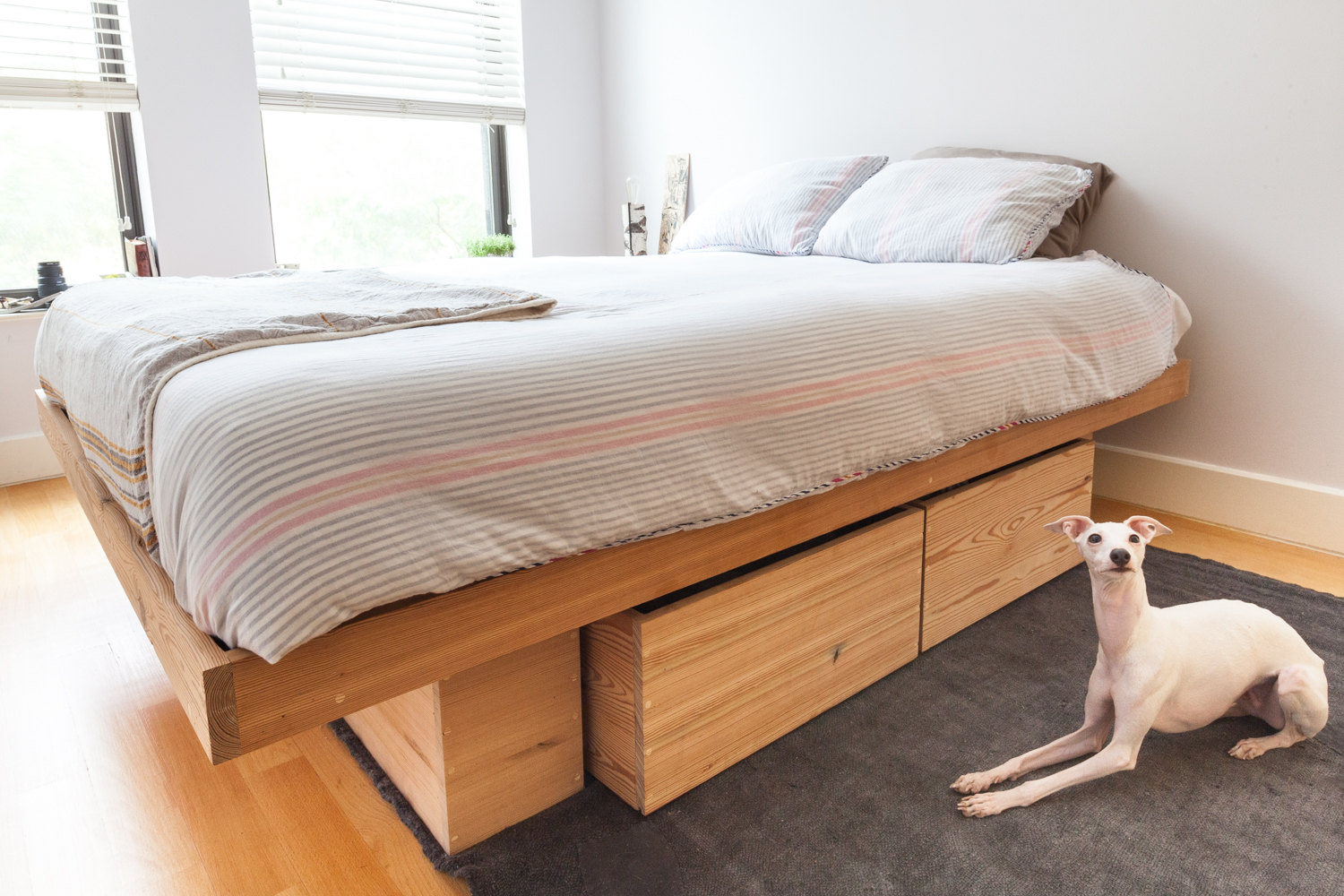 Image of: DIY Platform Bed with Storage Wood