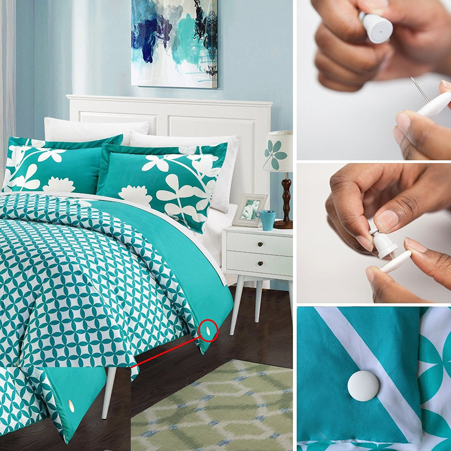 Image of: Duvet Cover Clips Teal