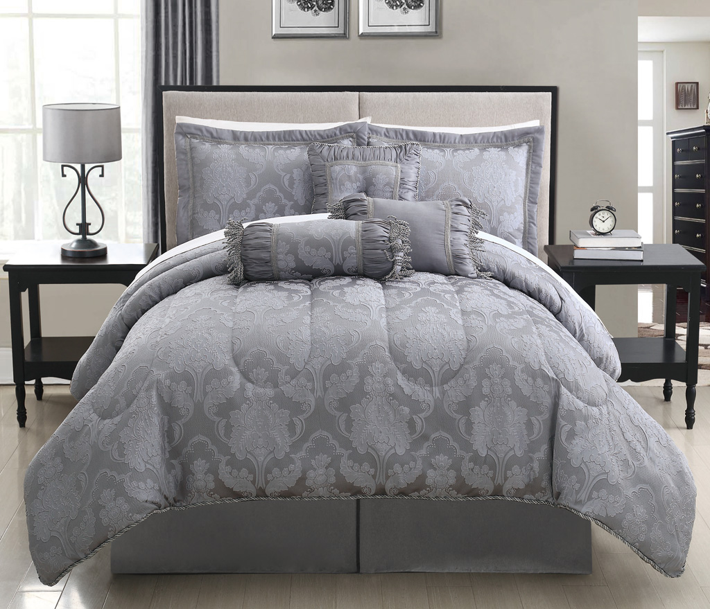 Image of: Elegant Grey Comforter Sets King