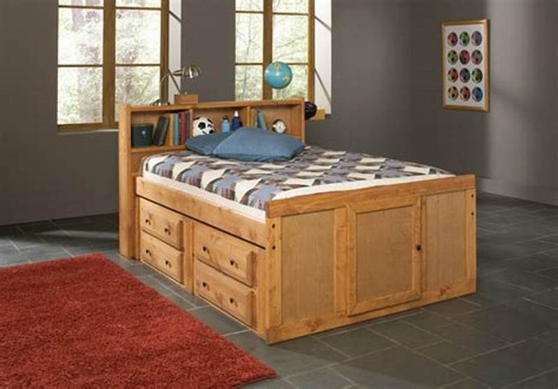 Elevated Full Size Captains Bed With Storage Drawers