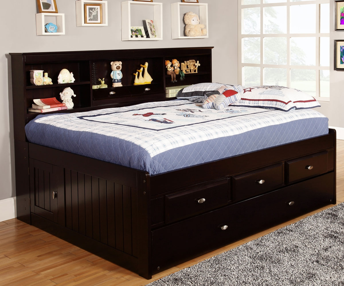 Espresso Full Size Captains Bed With Storage