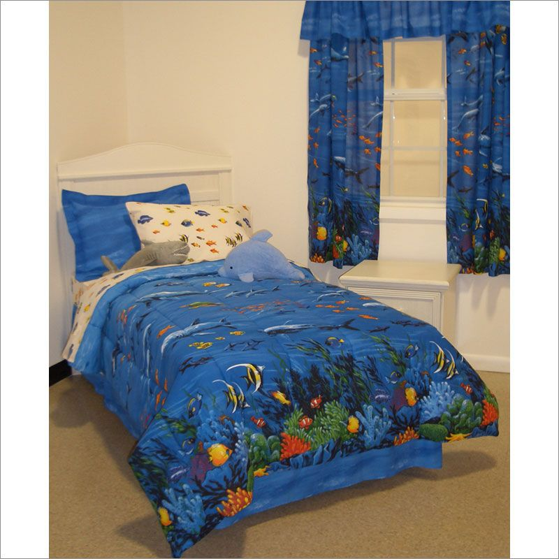 Fishing Comforter Set And Curtain