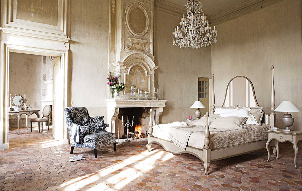 Image of: French Bedroom Set with Fireplace