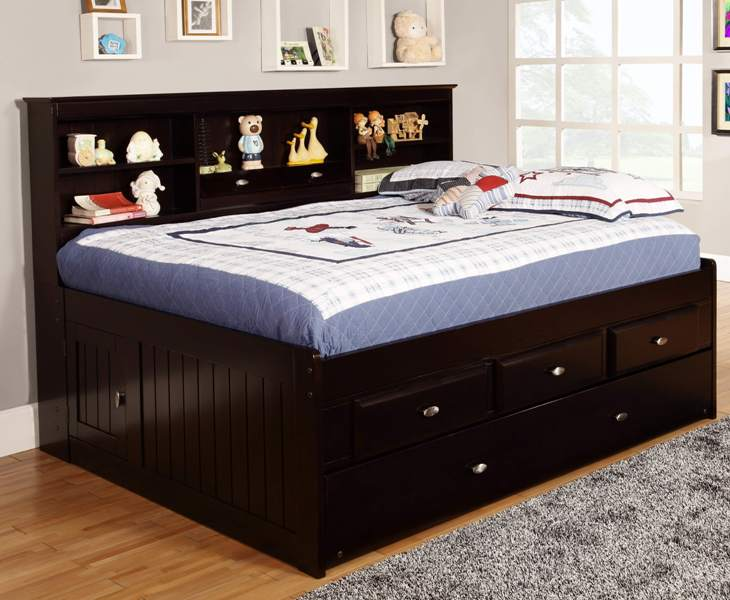Full Size Captains Bed With Storage Drawers