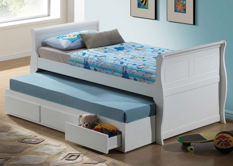 Full Size Captains Bed With Storage White